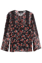 The Kooples Patterned Silk Top With Lace Florals