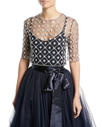 Jenny Packham Elbow Sleeve Crystal And Floral Illusion Tulle Lattice Top Navy