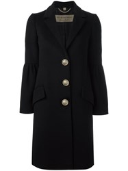 Burberry Oversized Button Coat Black