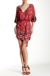 Iris Printed Kimono Dress Red