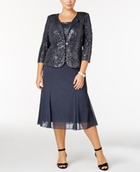 Alex Evenings Plus Size Sequined Chiffon Dress And Jacket Grey