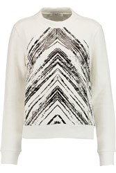 Sandro Printed Ribbed Jersey Sweatshirt White