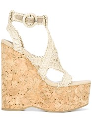 Paloma Barcelo Wedged Sandals Nude Neutrals