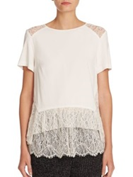 Thakoon Contract Lace Detail Peplum Tee Natural
