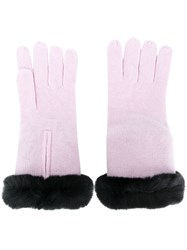 N.Peal Fur Trim Knitted Gloves Pink And Purple