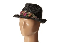 Betsey Johnson Sequin Fedora With Floral Band Black Fedora Hats