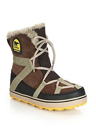 Sorel Glacy Explorer Faux Fur Trimmed Suede And Canvas Boots Tobacco