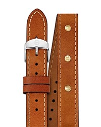 Michele Studded Double Wrap Leather Watch Strap 16Mm Brown
