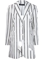 Area Di Barbara Bologna Striped 'Long Holes' Blazer White