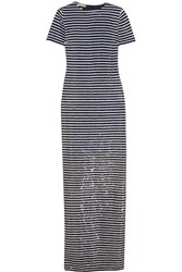 Michael Kors Collection Striped Sequined Silk Maxi Dress Navy