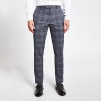 River Island Blue Check Skinny Suit Trousers