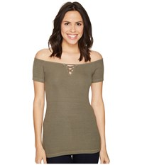 Michael Stars 2X1 Rib Front To Back Off Shoulder Top Olive Moss Women's Clothing