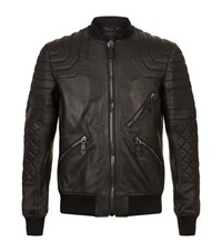 Philipp Plein Loyal Leather Bomber Jacket Male Black