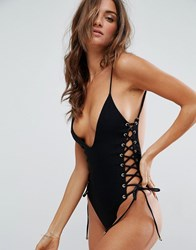 Blue Life Rope Tie Side Plunge Swimsuit Black