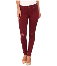 Hudson Coated Nico Mid Rise Skinny Jeans In Crimson Wax Destructed Crimson Was Destructed Women's Jeans Red