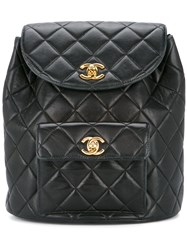 Chanel Vintage Quilted Chained Backpack Black