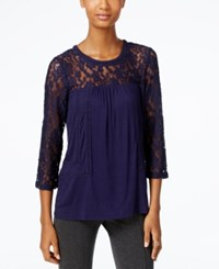 Cable And Gauge Lace Knit Peasant Top Evening Blue