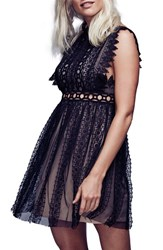 Free People Women's 'Forever' Lace Babydoll Dress Black