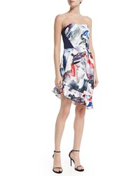 Prabal Gurung Strapless Dress W Tulip Skirt Cobalt Crimson Paint Cob Crims Paint