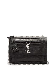 Saint Laurent Sunset Medium Croc Effect Leather Cross Body Bag Black