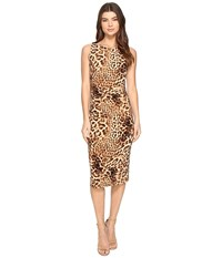 Norma Kamali Sleeveless Shirred Waist Dress Caramel Leopard Women's Dress Animal Print