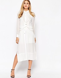 River Island Maxi Shirt With Gold Chain White