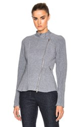 3.1 Phillip Lim Double Knit Moto Jacket In Gray