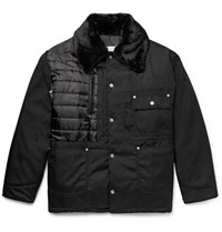 Maison Martin Margiela Faux Shearling And Pu Trimmed Quilted Canvas Jacket Black