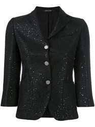 Tagliatore Cropped Fitted Jacket Women Cotton Acrylic Polyester Viscose 44 Black