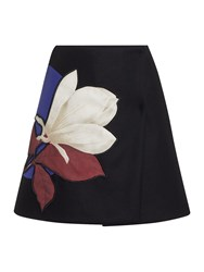 Sportmax Bilma Floral Print Wrap Wool Mini Skirt Black