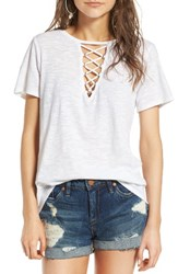 Socialite Women's Grommet Lace Up Tee Off White