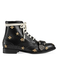 Gucci Queercore Embroidered Brogue Boot Black