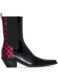 Haider Ackermann Checkered Panel Mid Calf Chelsea Boots Black