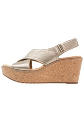 Clarks Aisley Tulip Wedge Sandals Gold