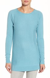 Halogenr Petite Women's Halogen High Low Wool And Cashmere Tunic Sweater Blue Cameo