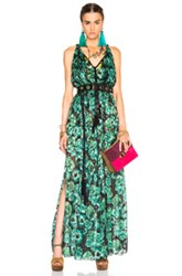 Lanvin Devore Leopard Gown In Green Floral