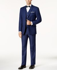 Marc New York By Andrew Classic Fit Blue Sheen Vested Suit