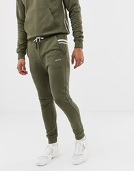 Religion Skinny Fit Joggers With Taping Green