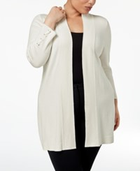 Jm Collection Plus Size Lace Up Cuff Duster Cardigan Created For Macy's Eggshell