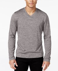Alfani Men's Performance Long Sleeve Shirt V Neck Deep Black