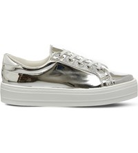 Office Diva Flatform Lace Up Trainers Silver Mirror