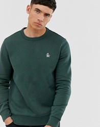 Original Penguin Icon Logo Crew Neck Sweatshirt In Dark Green