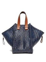 Loewe Hammock Small Woven Leather Tote Bag Dark Blue