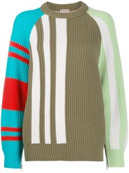 Mrz Colour Block Intarsia Sweater Green