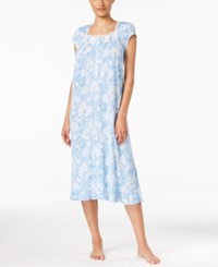 Eileen West Lace Trimmed Floral Print Nightgown Blue Floral