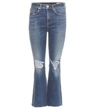 Rag And Bone Crop Flare Jeans Blue