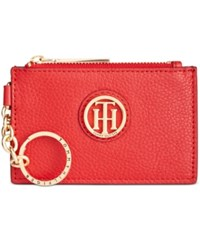 Tommy Hilfiger Lucky Charm Pebble Leather Id Coin Purse Racing Red