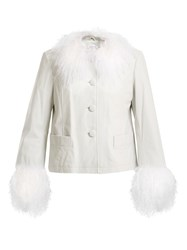 Saks Potts Dorthe Fur Trimmed Leather Jacket White