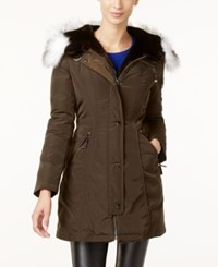 Laundry By Shelli Segal Faux Fur Trim Hooded Parka Pine