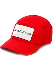 Calvin Klein Jeans Logo Patch Cap Red